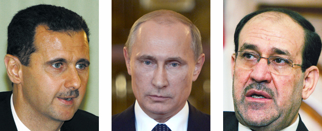 Bashar al-Assad, Vladimir Putin, and Nouri Al-Maliki. (Photos by Getty Images)